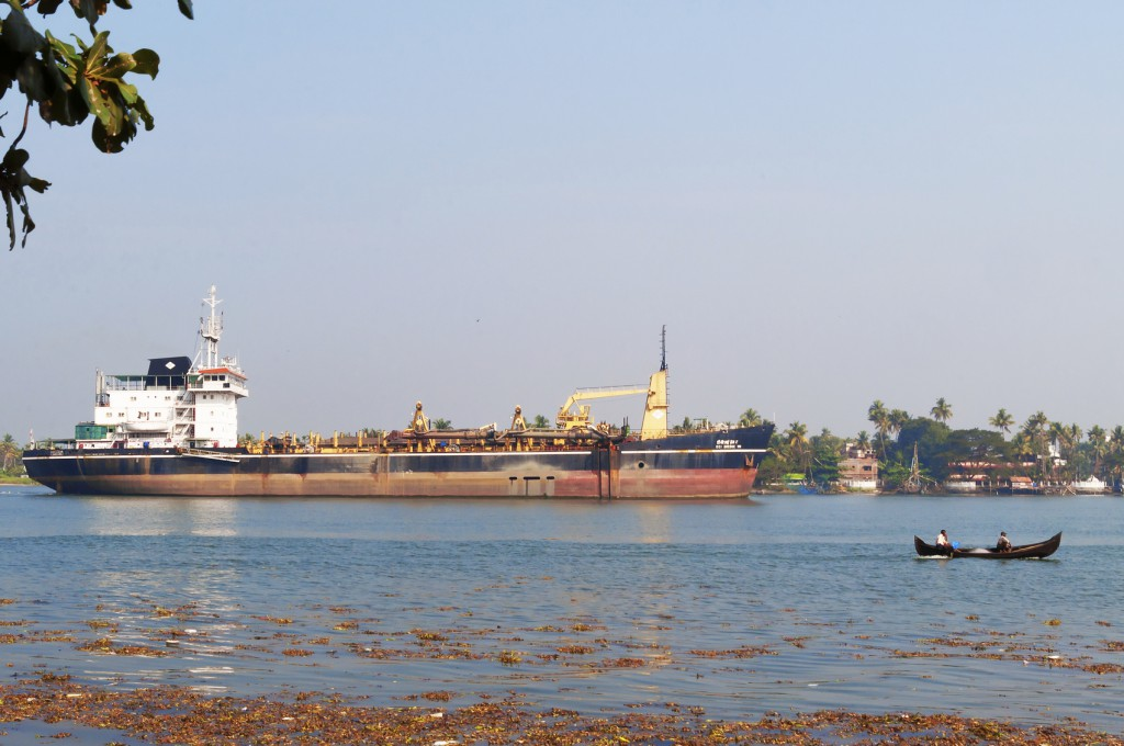 Fort Kochi, India - January 7, 2015: Industrial tanker on the sea. Fort Kochi is a region in the city of Kochi in the state of Kerala, India