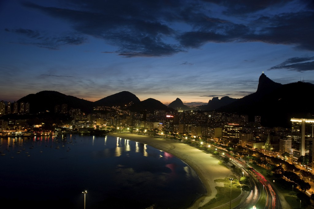Unique view of Rio de Janeiro`s skyline from a private building standing at a privileged point on Botafogo beach. Famous landmark Corcovado mountain stands at right in the background. Brazil.