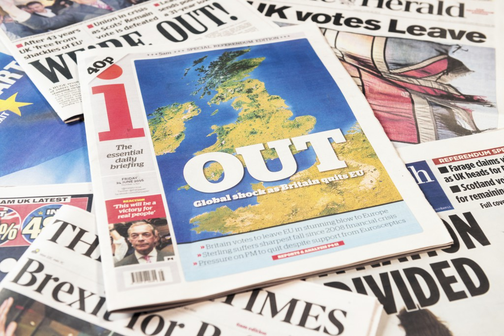 Edinburgh, UK - June 24, 2016: The front pages of a selection of British newspapers on the day following the referendum on membership of the European Union, known as the Brexit referendum.