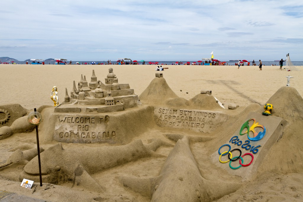 Rio de Janeiro, Brazil - April 10, 2011: Sculptures made with sand in Copacabana Beach, in Rio de Janeiro. The place for the tip is on the left.
