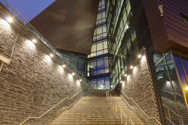 """Plymouth, United Kingdom - February 2, 2012: A stair way up to the Roland Levinsky building which houses the The Faculty of Arts. It is a new part of the University of Plymouth. The building was completed in 2007 and was named in honour of University professor Roland Levinsky who died unexpectedly in a accident in 2007."""