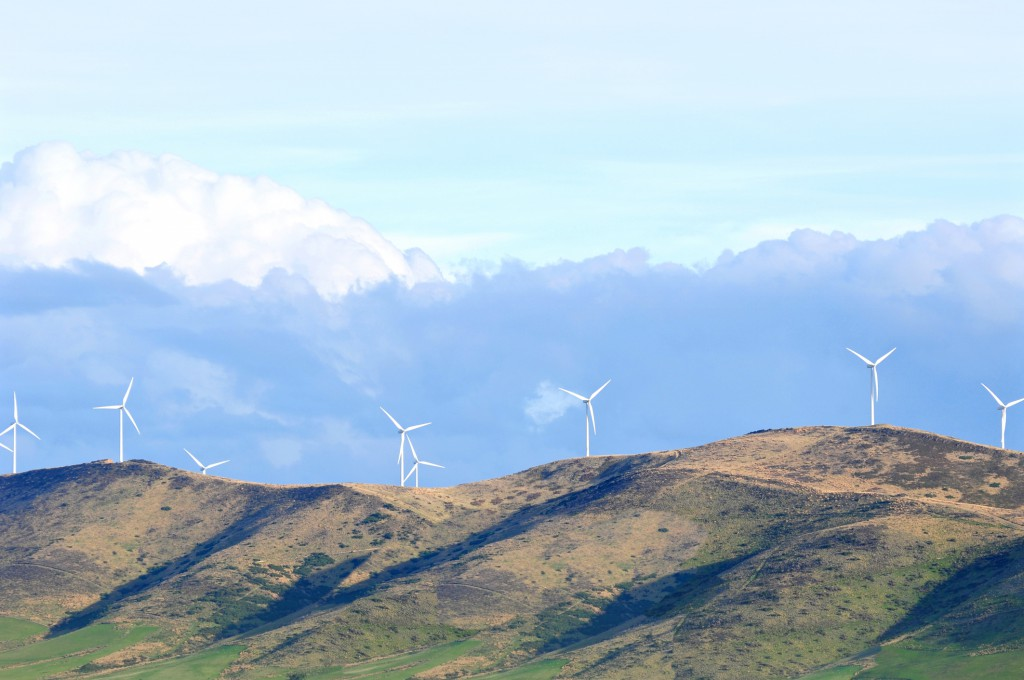 Wind turbine farm on the hill, South Island, New Zealand