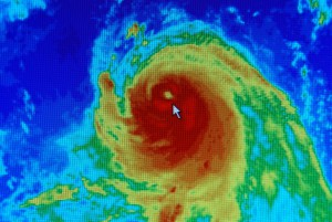 Colorful satellite image of a hurricane