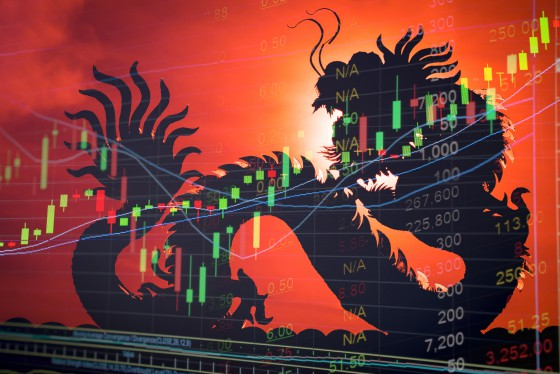 China stock market price graph display. Dragon as background means China economy concept. Stock market graph showing up trend economy. Red text price ticker board. Success in China business. No flag.