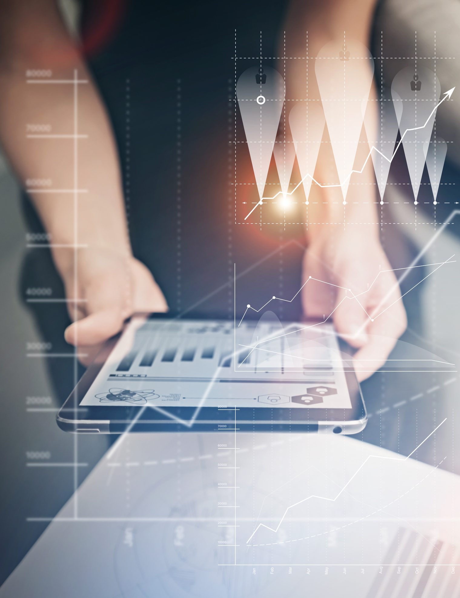 Photo female hands holding modern tablet. Manager working new private banking project office. Using electronic devices. Graphics icons, worldwide stock exchanges interface on screen.