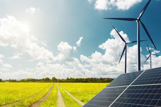 Future urban construction, windmills wind power and solar panels to solve energy shortages