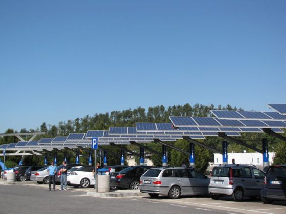 owned onsite solar panels on parking lot