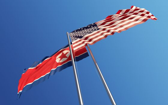 United States flag North Korea flag