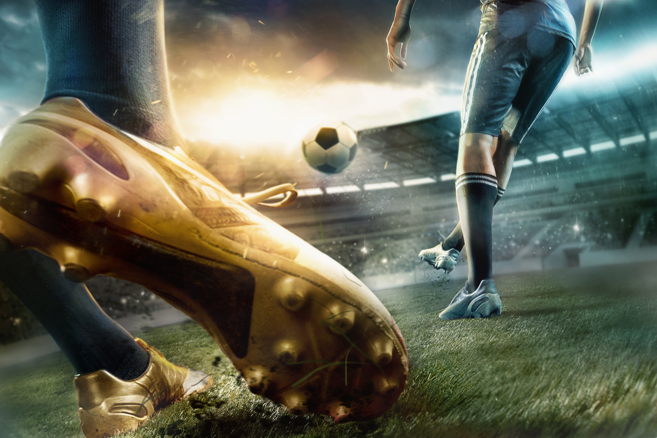 The soccer football players at the stadium in motion - Schneider ... 1eb413e6817